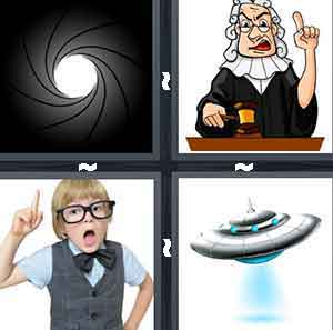 A black swirl with a white hole in the middle, A cartoon judge with his hand raised and one finger up, A child with glasses on and a raised arm with a finger pointed in the air, and A spaceship with blue light coming out of the bottom