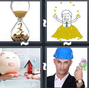 An hour glass with money in it, A cartoon figure of a man throwing gold coins in the air, A piggy bank and a house, and A man wearing a blue construction helmet