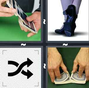 A person holding cards, A person's feet, Two arrows overlapping one another, and A person using two hands to mix them together