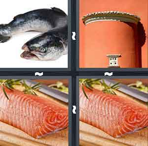 A fish with its mouth opened, A red area with a silver top, A raw piece of fish, and The same photo of a raw piece of fish
