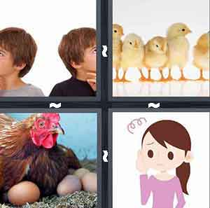 Two little boys, Baby chicken chicks, Hen laying eggs, and Worried girl cartoon
