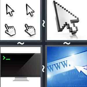 Two hand and two arrow cursors of a computer, Arrow cursor of a computer, A monitor screen showing the green start cursor, and A cursor pointing at the web address space in a browser