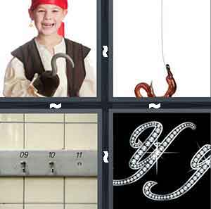 A Pirate, A worm, A hanger for clothes, and A black background with diamond letters