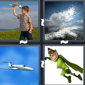 A child playing with a toy airplane, An ocean with clouds above it, An airplane  flying, and A cartoon superhero flying