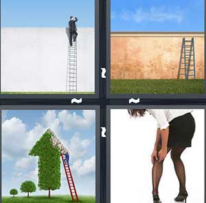 A person climbing a wall, A ladder, A green arrow pointing up, and A girl touching her stockings