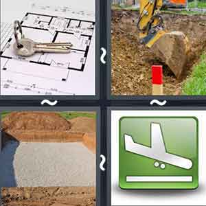 A key lying on the map of a house, Land being dug by a machine, A piece of land, and Plane about to land on the runway