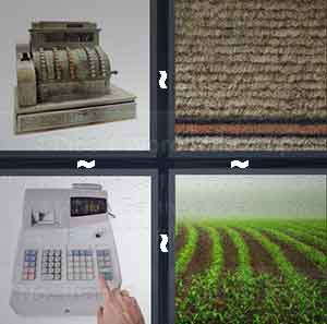 An old register, A beige area with an orange line under it, A new cash register, and A row of green fields
