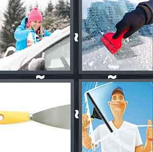 A person cleaning their windshield, A person with a red object taking off snow, A tool with a yellow handle, and A cartoon figure cleaning a window