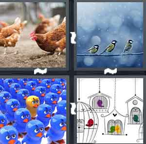 Chicken eating, Two animals on a line, Cartoon animals with one being yellow, and A bunch of houses for a particular animal