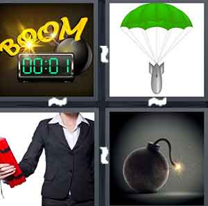 A cartoon timer, A green umbrella holding a cartoon bomb, A person holding fake dynamite, and A cartoon bomb