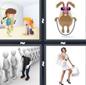 Two cartoon figures and one is jumping rope, A cartoon bunny jumping rope, A bunch of figures in a line with one person in black cutting the line, and A woman walking and holding a bunch of items