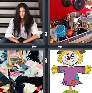 A girl with long black hair, A kitchen sink full of dishes, Piles of clothes on the floor, and A scarecrow