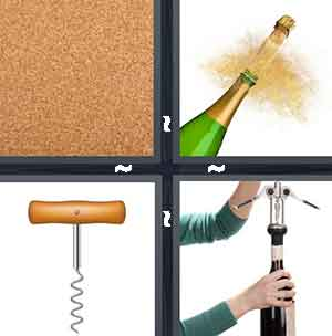 Cardboard slab, A bottle of champagne, A wine opener, and A person opening a bottle of wine