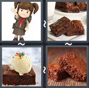 Cartoon wearing brown uniform, Chocolate brownies, Chocolate brownie with vanilla ice cream, and Chocolate walnut brownie