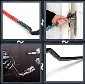 A red and black stick, Man prying open a door with a crowbar, Man with gloves holding a crowbar, and A black iron stick