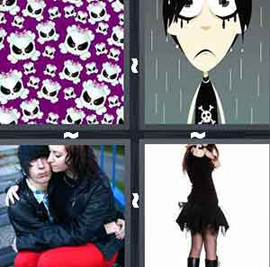 Purple skulls, Cartoon boy crying in rain, Girl sitting on boy's lap, and Girl in black gothic dress