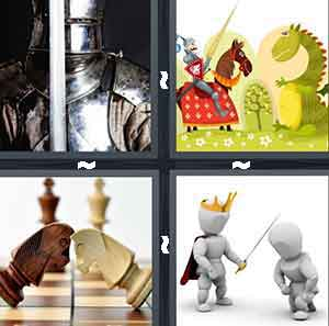 A person in armor, A cartoon drawing of a person on a horse going up to a green dragon, Two horse chess pieces with their head's touching, and A person wearing a gold crown touching a person kneeling with a sword