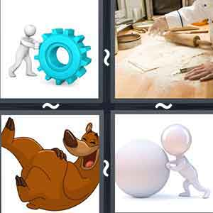 An animated figure rolling a screw, A person kneading bread with a roller, A laughing cartoon bear, and A figure rolling a big ball.