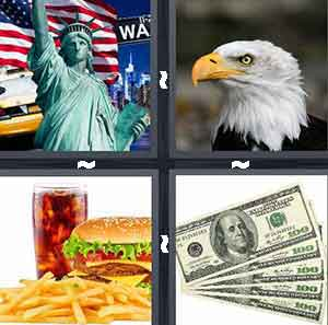 Statue of Liberty, Burger and friends, American food, Bald Eagle, and Cash, dollars