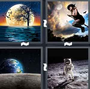A cartoon drawing of night time on the ocean, A Witch on a broomstick, A view of the Earth, and A man in a spacesuit