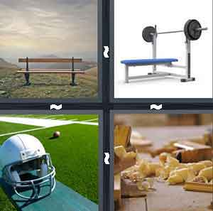 A brown object out in the field, A workout machine, A football helmet, and Pieces of scrapped word