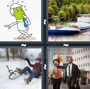 A cartoon man with a green face, A bunch of boats together, A man who has fallen off his bike, and A man cutting off another man