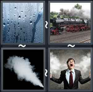 Misted window, A train with smoke coming out of the engine, Heavy smoke in the air, and Steam coming out of a shouting man's ears