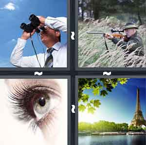 A person looking through binoculars, A man shooting a gun, A blue eye, and A scene of the Eiffel Tower