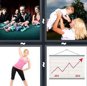 A person playing at a green table with chips, A woman holding up her child, A woman exercising, and A chart with a red arrow going up and down with two dates on the bottom