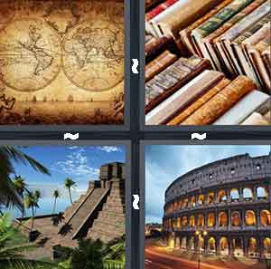 Old drawings of the world, Old, worn books, Egyptian pyramids, and The Coliseum in Rome