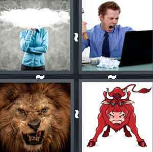 A person wearing a blue shirt with a cloud of white covering their head, A man yelling at his computer, A lion roaring, and A cartoon drawing of a red bull