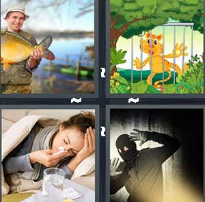 A fisherman holding a giant fish, A cartoon animal trapped in a cage, A girl laying down in bed sick and blowing her nose, and A robber caught in the light