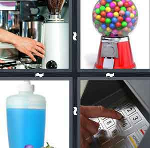 A person's hand touching a grey machine, A candy ball machine, A container with a blue liquid inside of it, and A person's finger touching a keypad