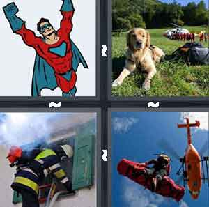 A cartoon superhero, A dog lying on the grass, A firefighter climbing into a window, and A helicopter with a lifter on it