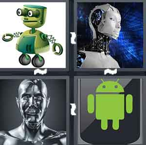 A green cartoon robot, A robot in space, A silver robot, and A drawing of a green robot