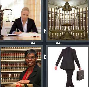 A woman sitting a desk looking at paper work, A woman standing in front of a book case, Scales of justice, and A man carrying a black briefcase wearing a suit