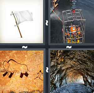 A white flag on a stick, A person inside of a cage going in to water, A drawing of an elephant running with a person behind it, and Inside the underground with a hole letting in sunlight