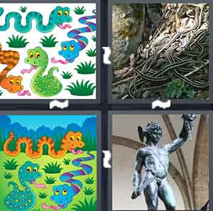 Cartoon animals, A pile of slithering animals, Cartoon drawing of three animals, and A statue holding up an animal