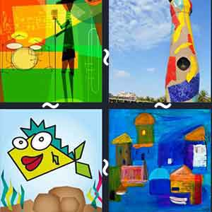 An abstract green, yellow and orange painting, A tall colorful building, A yellow cartoon fish with big lips, and Small colorful sketched houses.