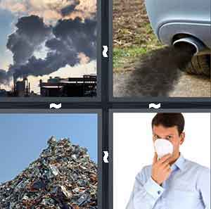 A chemical plant with steam coming out, A car exhaust, A pile of garbage, and A man covering his face with a white mask