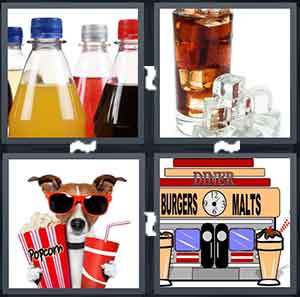 Four bottles of Soda, A glass with ice and soda in it, A dog holding popcorn and soda, and A cartoon soda machine