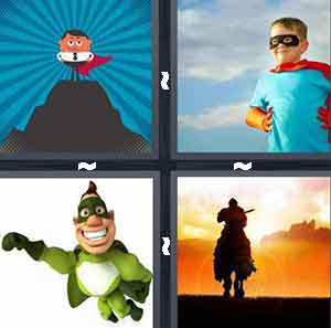 kid with cape, kid superhero, green super hero, and man on horse
