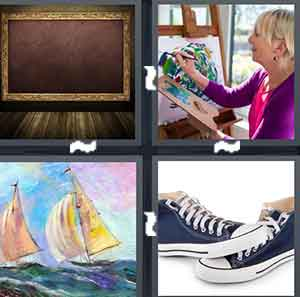 A picture frame, A woman painting, A cartoon portrait, and A pair of shoes