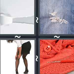 Iced wall, White paper with a cut going across it, Woman fixing her black tights, and A knitted red sweater