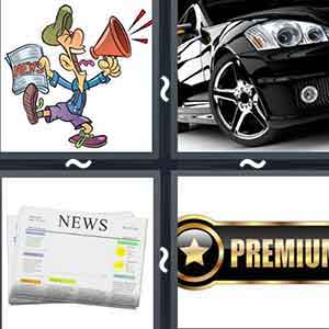 "Cartoon man with a magazine and a loudspeaker in his hands, A black fancy car, A newspaper, and An object with a star and ""PREMIUM"" written on it"