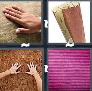 A person's hand touching something, Sandpaper, A person's hands touching a rug, and A purple object