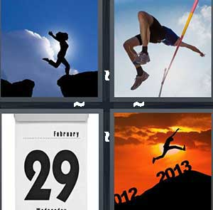 A girl jumping across rocks, A high jumper, February 29th, and A person jumping from 2012 to 2013