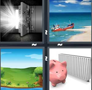 An open safe, A ship at the shore, A green grassy valley, and A piggy bank