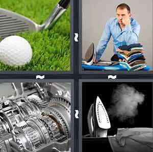 Golf club and ball, Man ironing shirts clothes, Metal silver machine, and Steaming ironing board