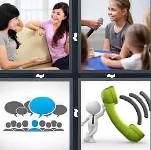 Girls talking on the couch, Blue and grey thought bubbles, Girl speaking into microphone, and Green telephone